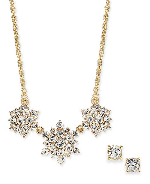 Charter Club Gold-Tone Crystal Burst Collar Necklace & Stud Earrings Set, Created for Macy's