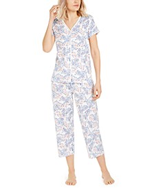 Petite Cotton Cropped Pants Pajama Set, Created for Macy's