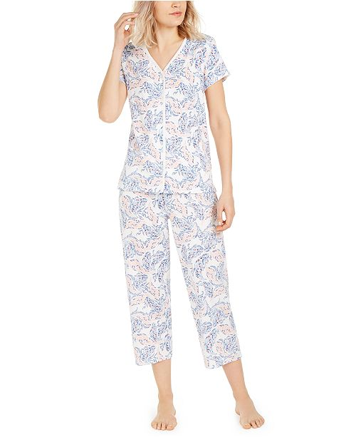 Charter Club Petite Cotton Cropped Pants Pajama Set, Created for Macy's