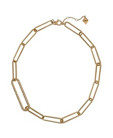 Gold Tone Long Link Short Necklace