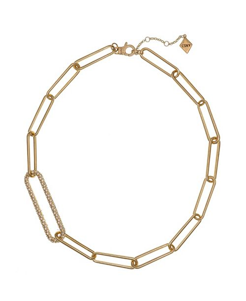 Christian Siriano New York Gold Tone Long Link Short Necklace