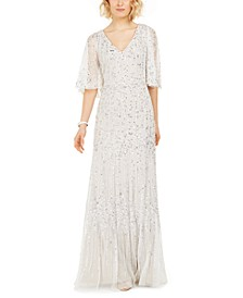 Capelet-Sleeve Beaded Gown