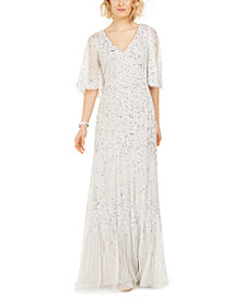 Adrianna Papell Capelet-Sleeve Beaded Gown