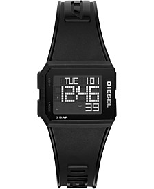 Men's Digital Chopped Black Polyurethane Strap Watch 38mm