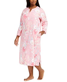 Plus Size Floral-Print Zipper Robe
