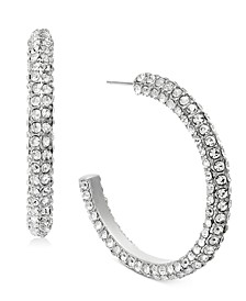 "INC Silver-Tone Medium Crystal Hoop Earrings, 1.75"", Created For Macy's"