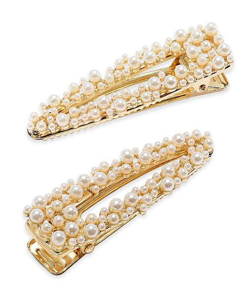 INC International Concepts INC Gold-Tone Imitation Pearl Cluster Hair Clips, Created For Macy's