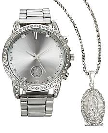 INC Men's Silver-Tone Bracelet Watch 45mm Gift Set, Created for Macy's