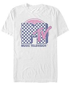 Men's Checkered Pattern Sunset Color Fill Logo Short Sleeve T- shirt