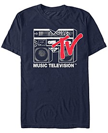 Men's Logo 80's Style Black and White Boombox Short Sleeve T- shirt
