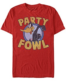 Looney Tunes Men's Daffy Duck Party Fowl Short Sleeve T-Shirt