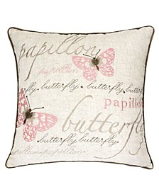 Rose Embroidery Square Decorative Throw Pillow