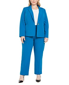 Plus Size One-Button Straight-Leg Pantsuit