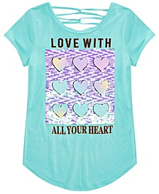 Big Girls Flip Sequined Love Heart Top