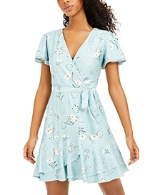 Juniors' Printed Eyelet Faux-Wrap Dress