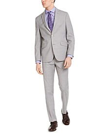Men's Slim-Fit Techni-Cole Stretch Light Gray Plaid Suit, Created for Macy's