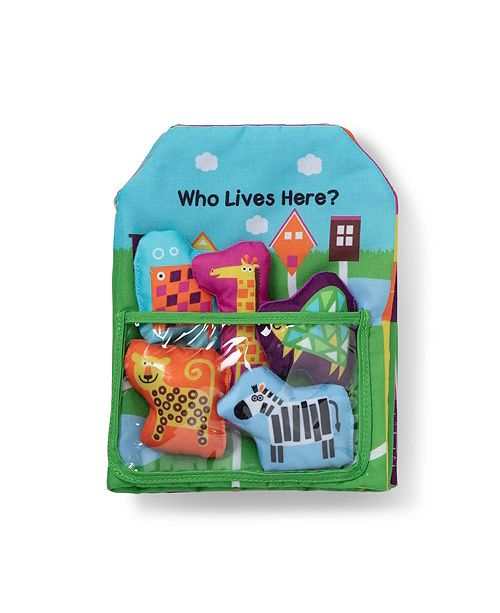 Melissa and Doug Melissa Doug K's Kids Who Lives Here 8-Page Soft Book for Babies and Toddlers + 5 Pieces