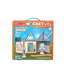 Melissa Doug 15-Piece MAGNETIVITY Magnetic Building Play Set – Draw Build House 8 Panels, 4 Dry-Erase Markers