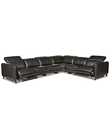 Jaconna 6-Pc. Leather Sectional with 2 Power Recliners, Created for Macy's