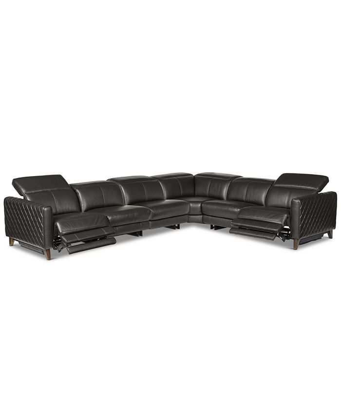 Furniture - Jaconna 6-Pc. Leather Sectional with 2 Power Recliners