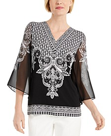 Printed Chiffon-Sleeve Top, Created for Macy's