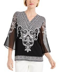 Printed Chiffon-Sleeve Top, Created for Macy's