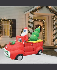 7' Inflatable Santa In Red Trunk With Christmas Santa on Car