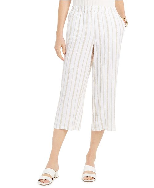 JM Collection Striped Crinkle Pants, Created For Macy's