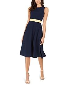 Belted Sleeveless Midi Dress