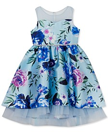 Toddler Girls Printed Mikado Illusion Bodice to 2-Tier Skirt