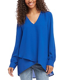 Split-Back Crossover-Hem Top