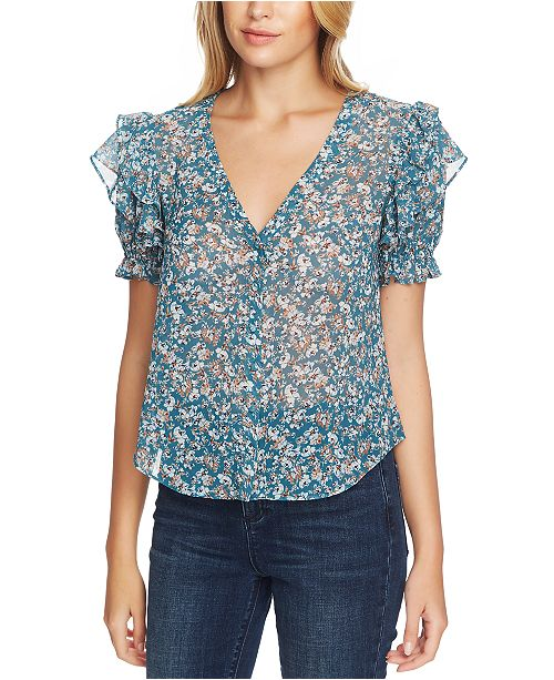 1.STATE Woodland Floral Button-Up Top