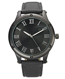 INC Men's Gray Faux Leather Strap Watch 46mm, Created for Macy's