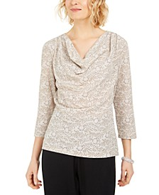 Cowlneck Metallic-Print Top