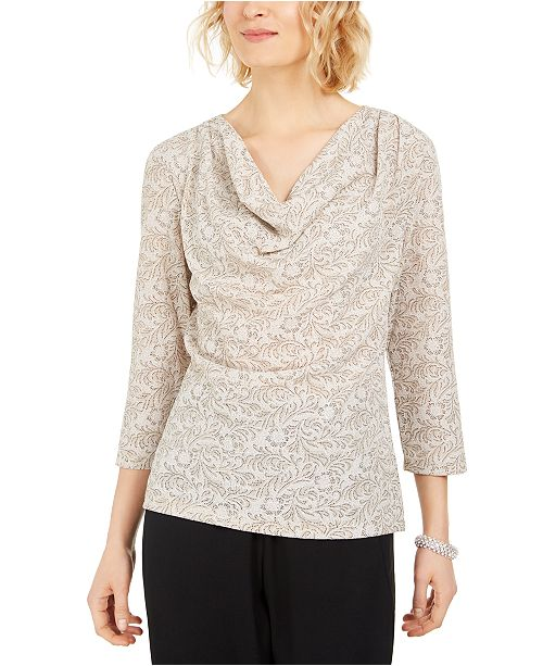 MSK Cowlneck Metallic-Print Top