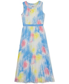 Big Girls Pleated Chiffon Tie-Dyed Maxi Dress