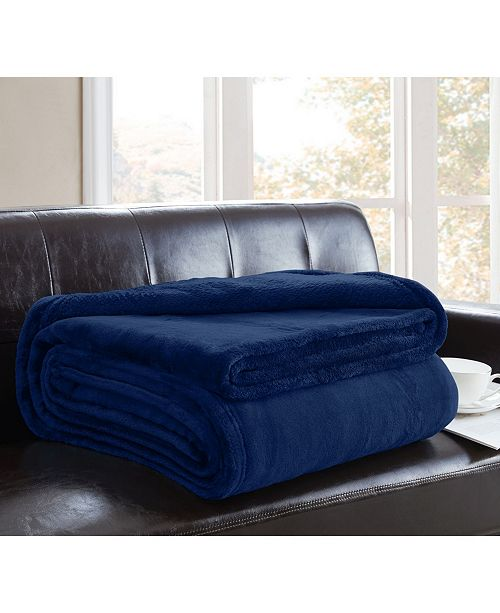 Ornavo Home Soft Plush Fuzzy Lightweight Solid Throw Microfiber Flannel Bed Blanket Couch Sofa