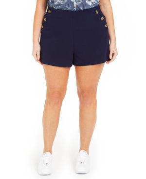 1950s Pinup Shorts, Retro Shorts Planet Gold Trendy Plus Size Sailor Shorts $39.00 AT vintagedancer.com
