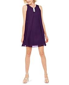 Embellished Chiffon A-Line Dress