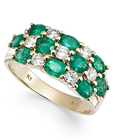 14k Gold Ring, Emerald (2 ct. t.w.) and Diamond (1/2 ct. t.w.) 3 Row Band