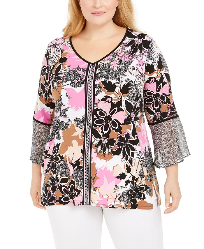 JM Collection - Plus Size Printed Tunic