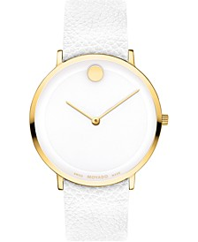 Women's Swiss Modern 47 White Leather Strap Watch 40mm, Created for Macy's