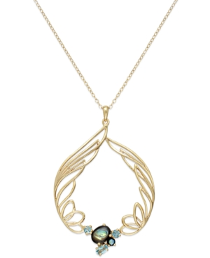 Sis by Simone I Smith 18k Gold over Sterling Silver Necklace, Abalone and Blue Crystal Angel Wing Circle Pendant