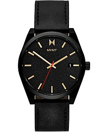 Men's Caviar Black Leather Strap Watch 43mm