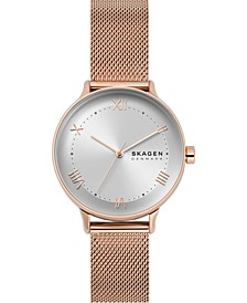 Women's Nillson Rose Gold-Tone Stainless Steel Mesh Bracelet Watch 34mm