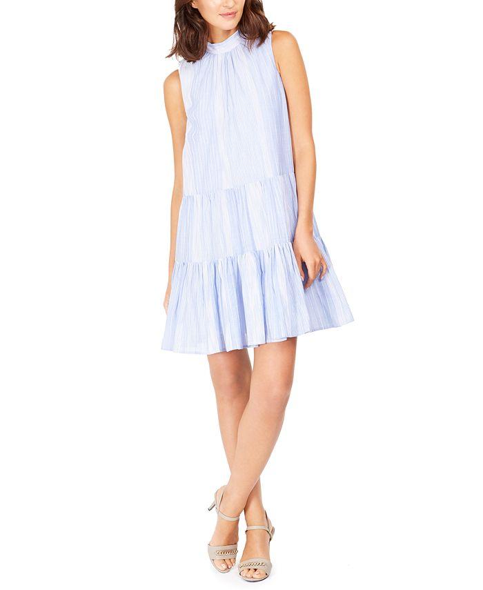 Calvin Klein - Striped Cotton Trapeze Dress