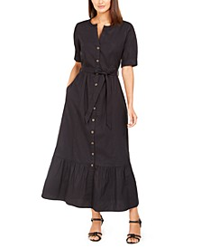 Short-Sleeve Cotton Maxi Dress