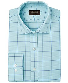 Men's Classic/Regular-Fit Non-Iron Performance Stretch Glen Plaid Supima Cotton Twill Dress Shirt, Created for Macy's