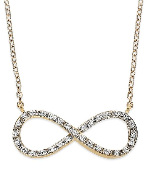 Macy's Diamond Infinity Pendant Necklace in (1/6 ct. t.w.)