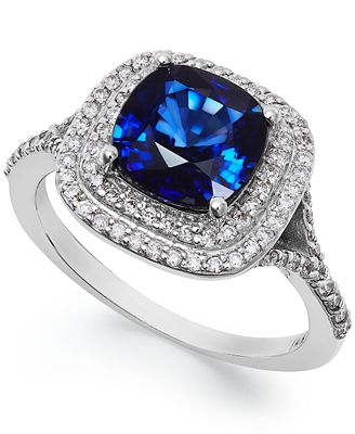 Velvet Bleu by EFFY Manufactured Diffused Sapphire (2-1/2 ct. t.w.) and Diamond (1/3 ct. t.w.) Ring in 14k White Gold
